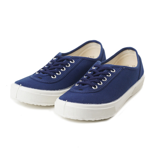 [FERN] Lace Model Low Off Blue Canvas/White