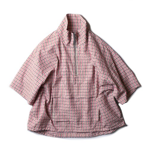 [KIIT] Washable C/PL Check Half Zip S/Sleeve Blouson (Pink)