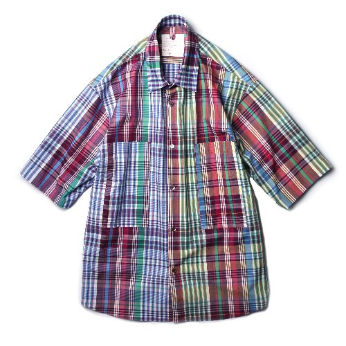[Ourselves] Oversized Madras Half Shirts (Begie)