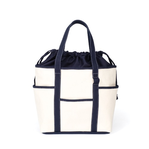 [MAZI UNTITLED] Café Tote Canvas (Ecru Navy2)