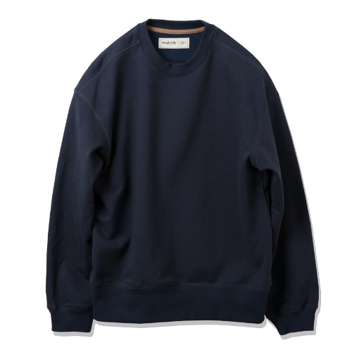 [rough side] Oversized Sweat Shirts (Navy)