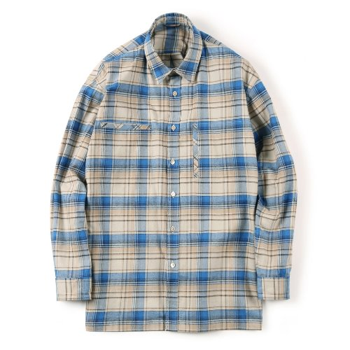 [SHIRTER] Flannel Over Box (Check Blue)
