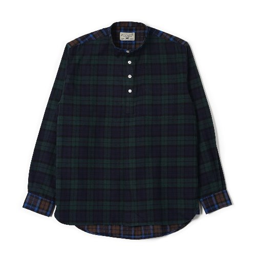 [BANTS] OSF Check Flannel Collarless Pullover Shirt (Blackwatch)