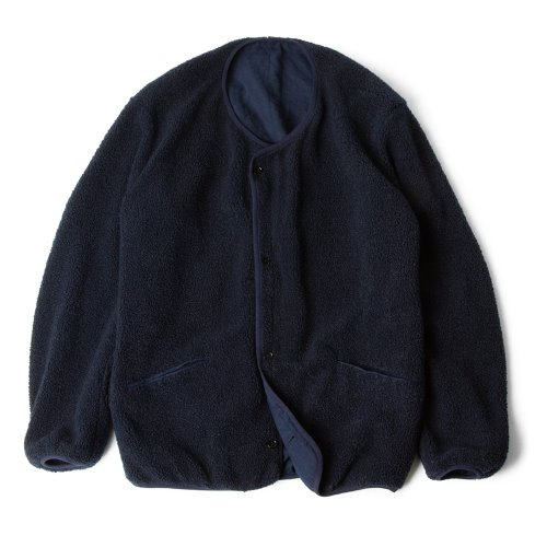 [polyteru] Reversible Fleece Cardigan (Navy/Blue)