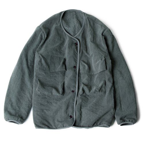 [polyteru] Reversible Fleece Cardigan (Charcoal/Green)
