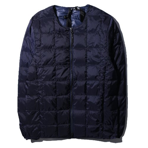 [TAION] Crew Neck W-ZIP Down Jacket (Navy)