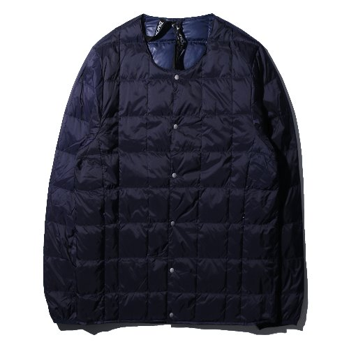 [TAION] Crew Neck Button Down Jacket (Navy)