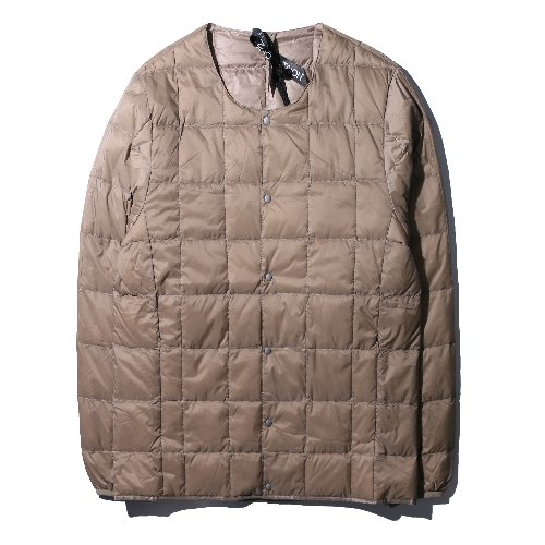 [TAION] Crew Neck Button Down Jacket (Khaki)