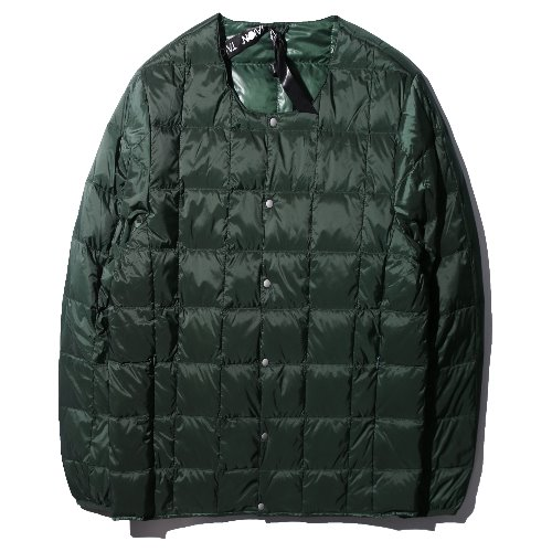 [TAION] Crew Neck Button Down Jacket (Green)