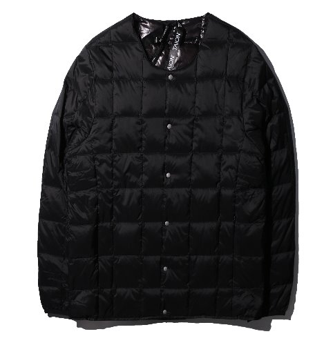 [TAION] Crew Neck Button Down Jacket (Black)