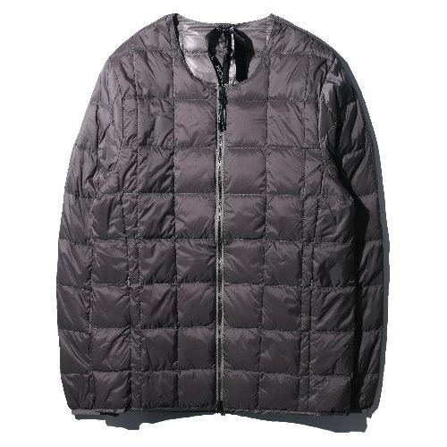 [TAION] Crew Neck W-ZIP Down Jacket (Gray)