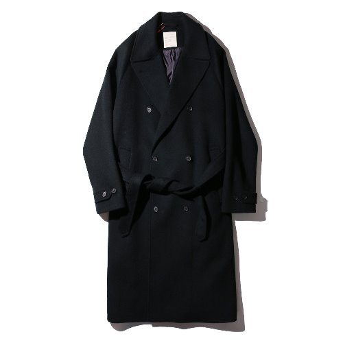 [ourselves] Belted Double Chesterfield Coat (Night Charcoal)
