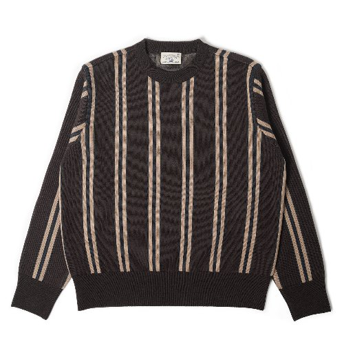 [BANTS] OSF Stripe Knit Crewneck Sweater (Brown)