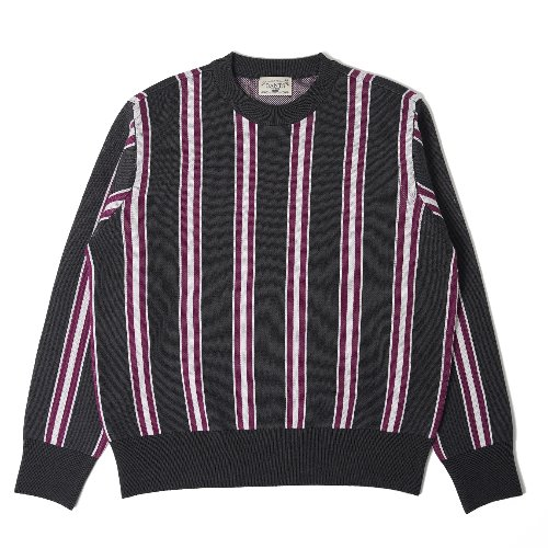 [BANTS] OSF Stripe Knit Crewneck Sweater (Grey)