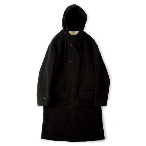 [polyteru] Wool String Hooded Coat (Black)