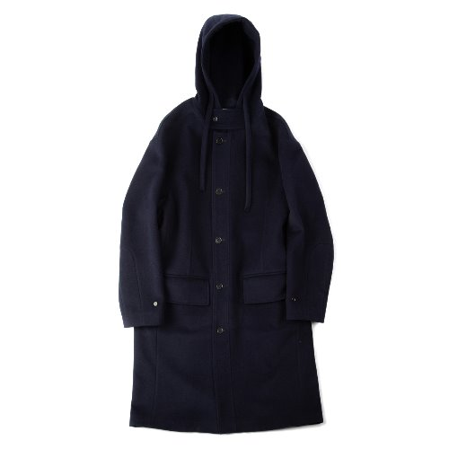[polyteru] Wool String Hooded Coat (Navy)