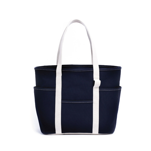 [MAZI UNTITLED] Café Tote Canvas (Navy Ecru)