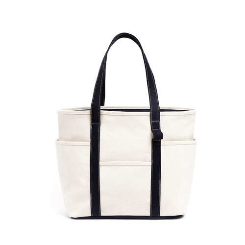 [MAZI UNTITLED] Café Tote Canvas (Ecru Navy)
