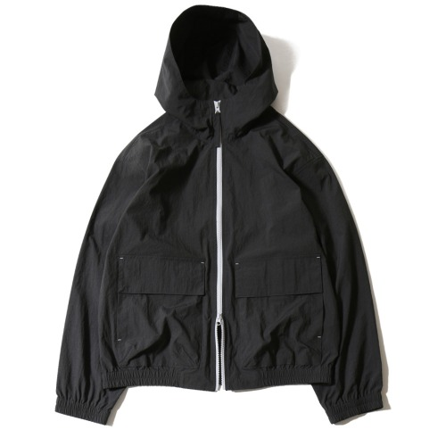 [HORLISUN] Breeze Nylon Hood Zip Up Jacket (Black)
