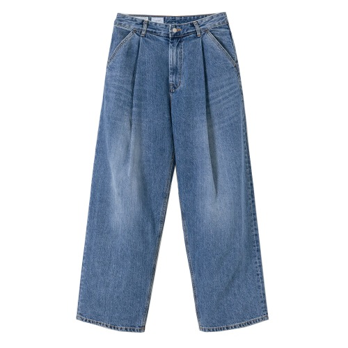 [YOUTH] Structured Wide Denim Pants (Medium Blue)