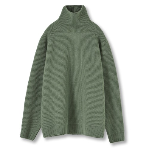 [YOUTH] Oversized Turtle Neck Sweater (Pale Green)