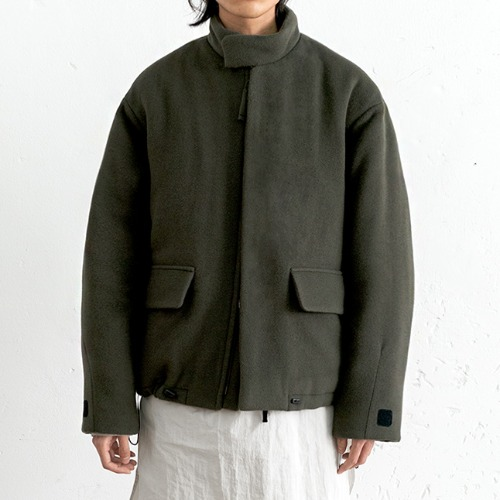 [polyteru] Wool Puffer Jacket (Smoke Green)