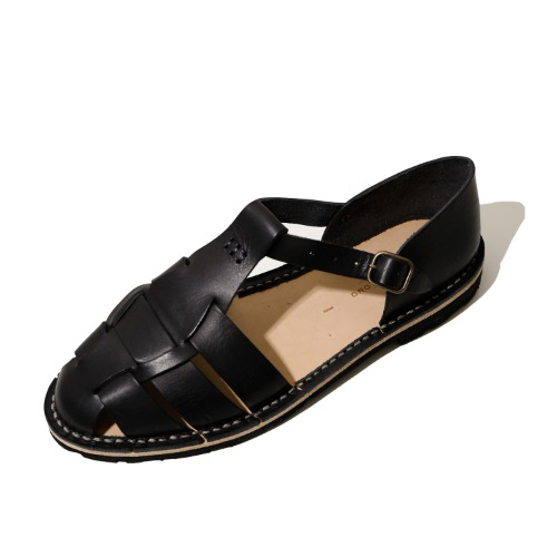 [STEVE MONO] 10/01 Artisanal Sandals Vegetable Tan Calfskin (Black)