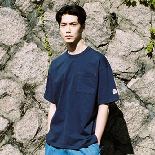 [HORLISUN] Lawrence Overfit Short Sleeve Pocket T-shirts (Navy)