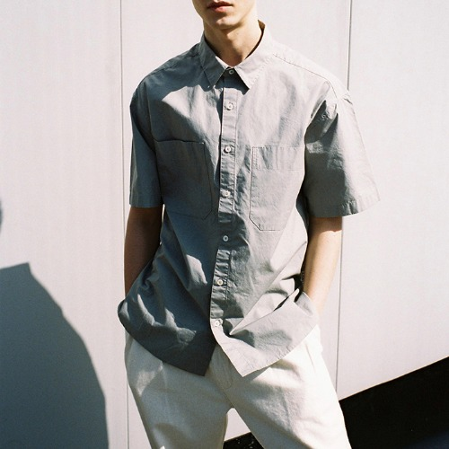 [HORLISUN] Poole Extra Typewriter Short Sleeve Shirts (Gray)