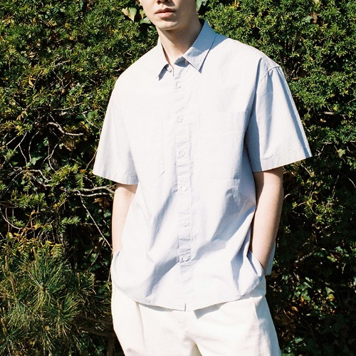 [HORLISUN] Poole Extra Typewriter Short Sleeve Shirts (Lavender)