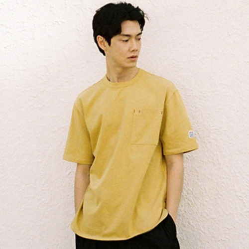 [HORLISUN] Emery Short Sleeve Pocket Seasonal T-shirts (Mustard)
