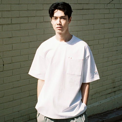 [HORLISUN] Lawrence Overfit Short Sleeve Pocket T-shirts (Off White)