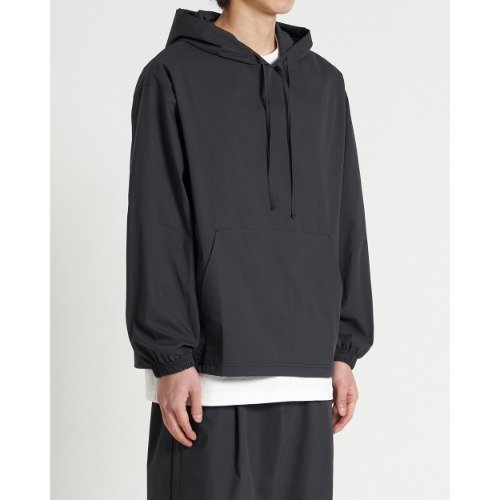 [YOUTH] Woven Hooded  Shirt (Black)