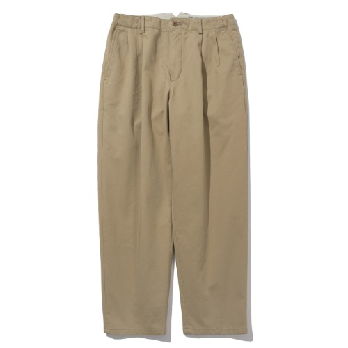 [POTTERY] Two Pleated Wide Chino Pants (Beige)